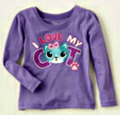 TCP Baby/Toddler Girl's Purple I LOVE MY CAT Graphic Tee - Sz 6-9mo - 18-24mo