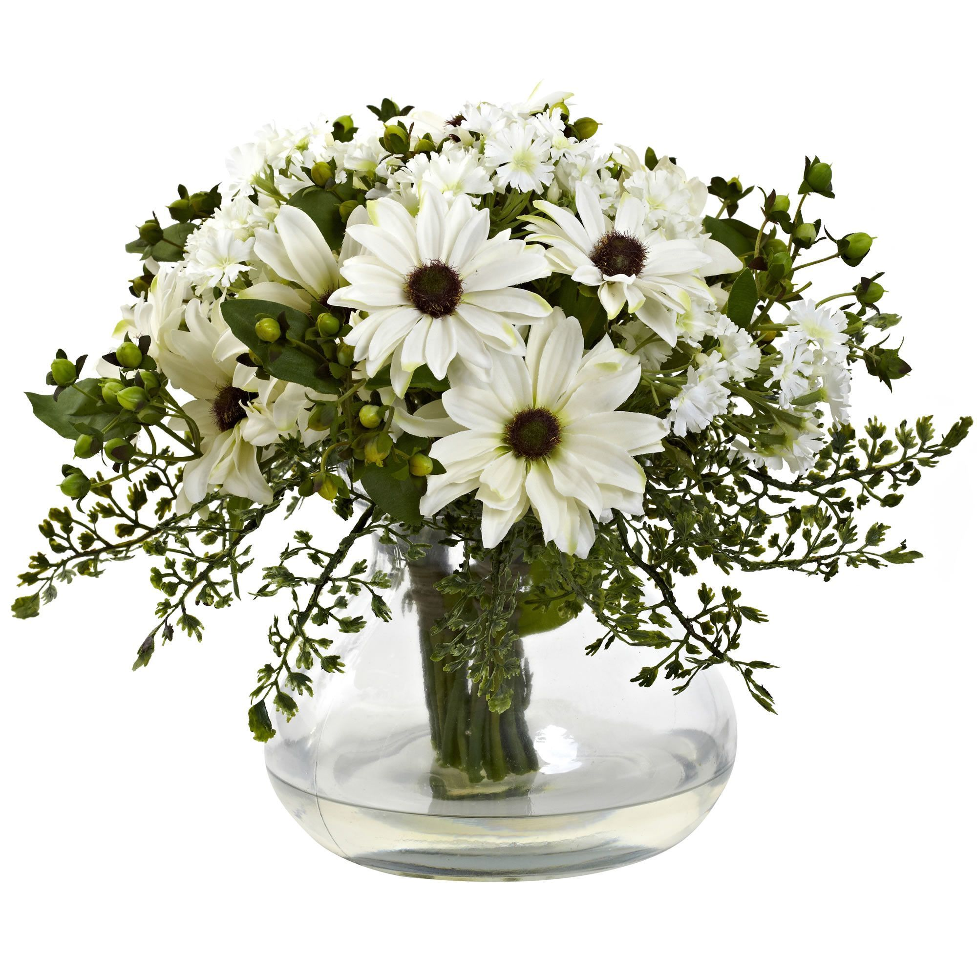 Nearly natural mixed daisy floral arrangement in vase flower artificial flowers decorative vasescamping productsflower artfloral arrangementsdaisiesgardeningnaturalcolourcenterpieces izmirmasajfo