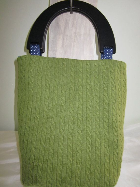 Green Cable Knit 7 1/2' x 11. Black wooden by SewReconstructed, $32.00