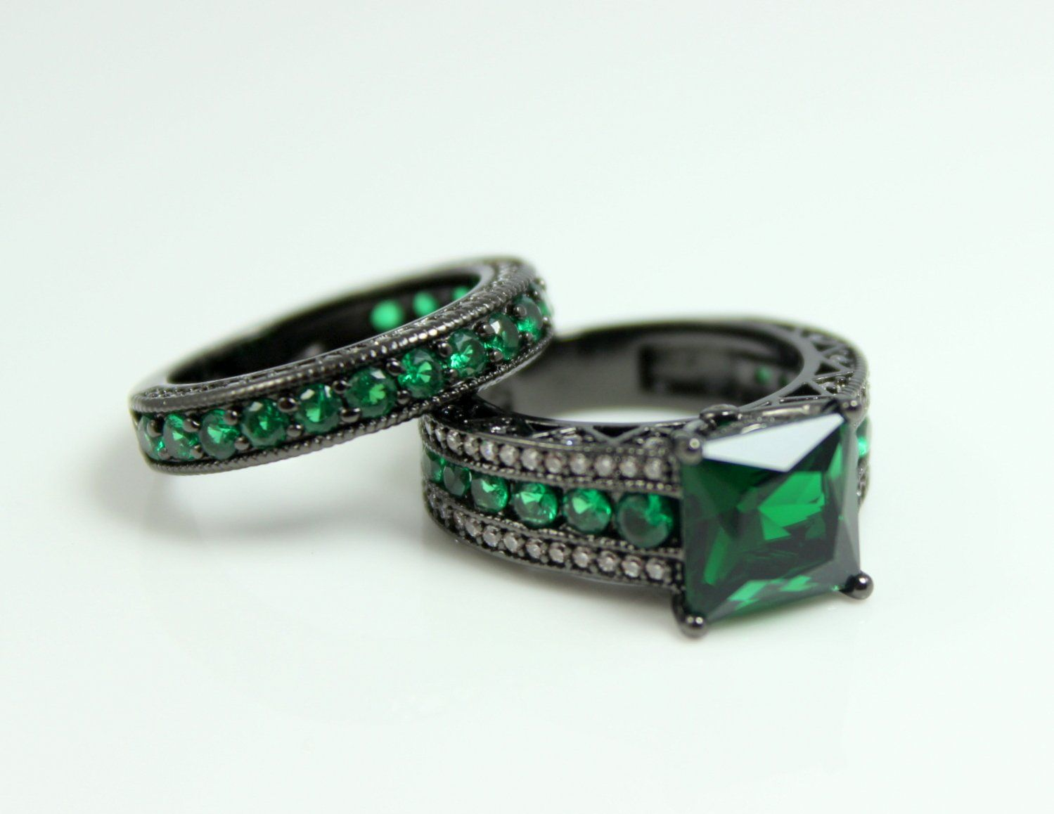 Black Engagement Ring Set Woemen Wedding Anniversary Promise Rings ...