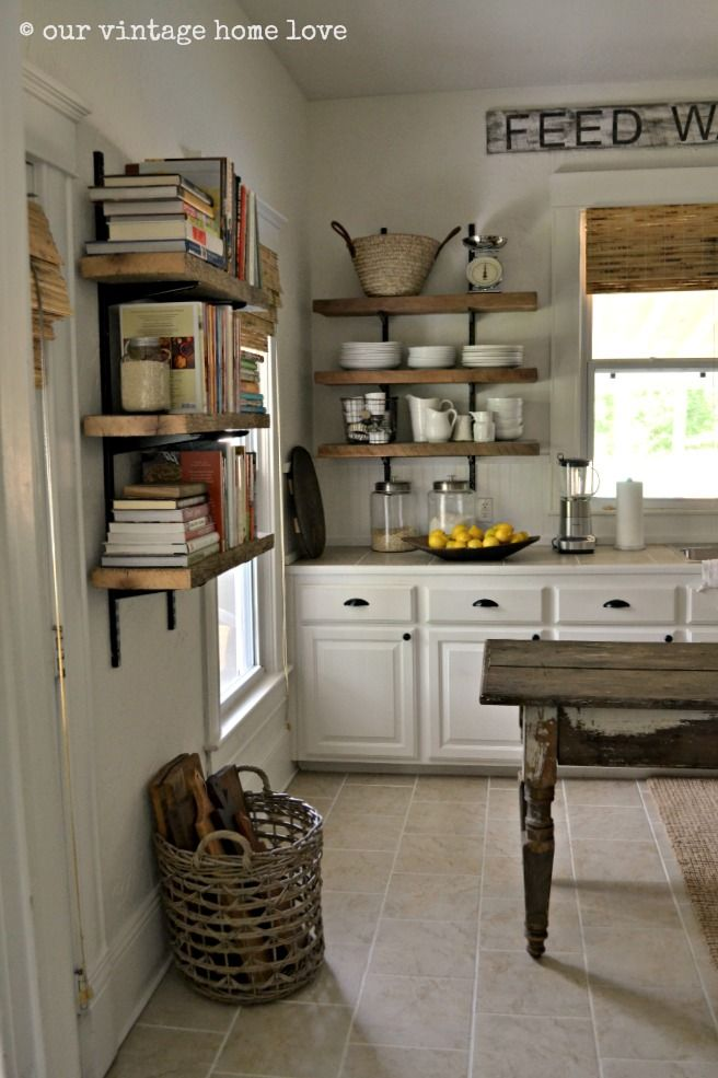 Our Vintage Home Love Farmhouse Table And Love The Shelving Of Both Cookbooks And Kitchen