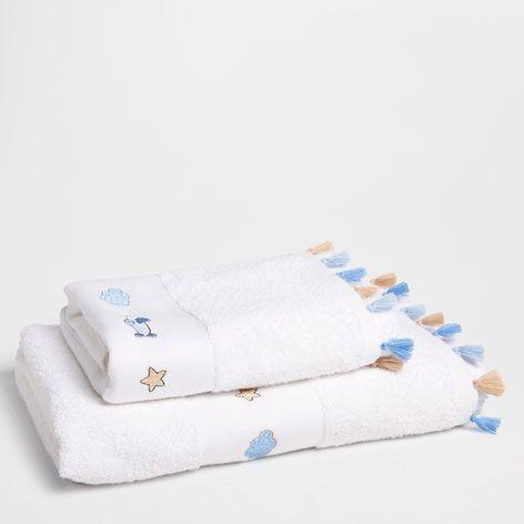 Serviette de Bain Motifs Brodés et Pompons - Serviettes - Bain | Zara Home France