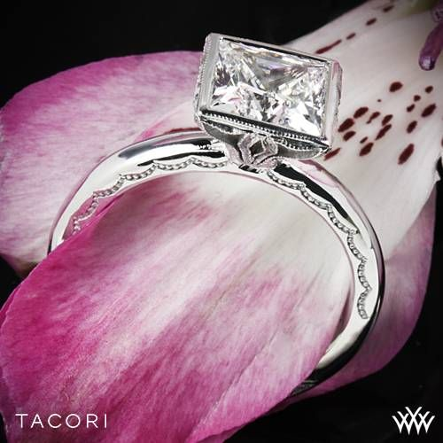 For a bolder look, this princess cut diamond is enveloped within a starlit crown that enhances the story your love. Tacori Starlit Princess Bezel Solitaire Engagement Ring