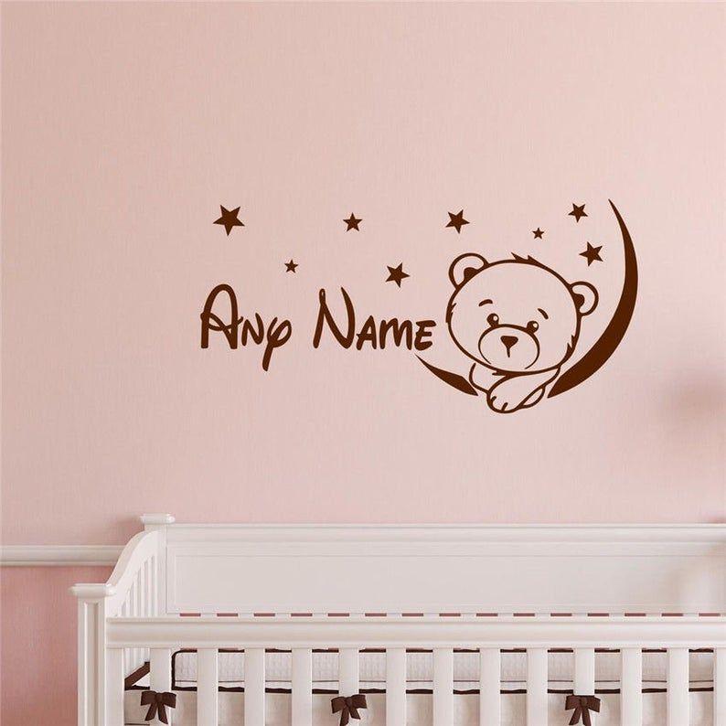 Personalisierte Cute Teddy Bear Boys Girls Bedroom Wall Vinyl