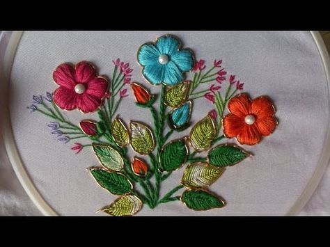 Hand Embroidery Tutorial Mirror Work Romanian Couching Stitch Design For Cushions Covers Embroidery Tutorials Ribbon Embroidery Hand Embroidery Designs