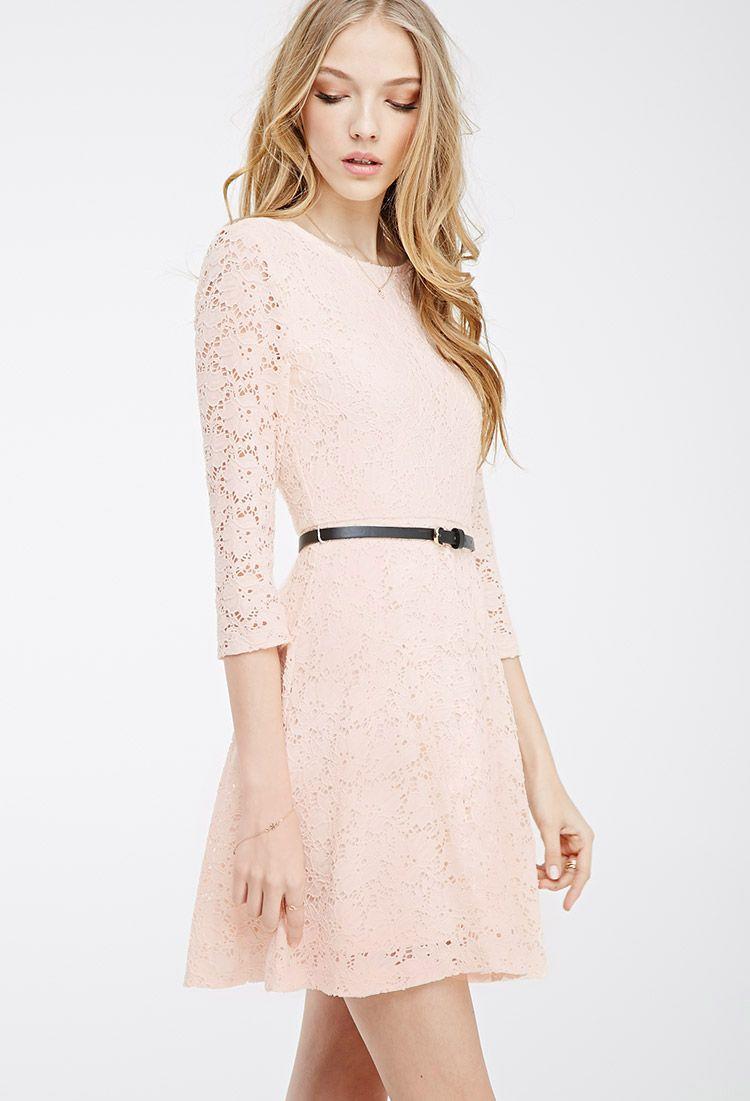 Belted lace skater dress forever 21 2000099242