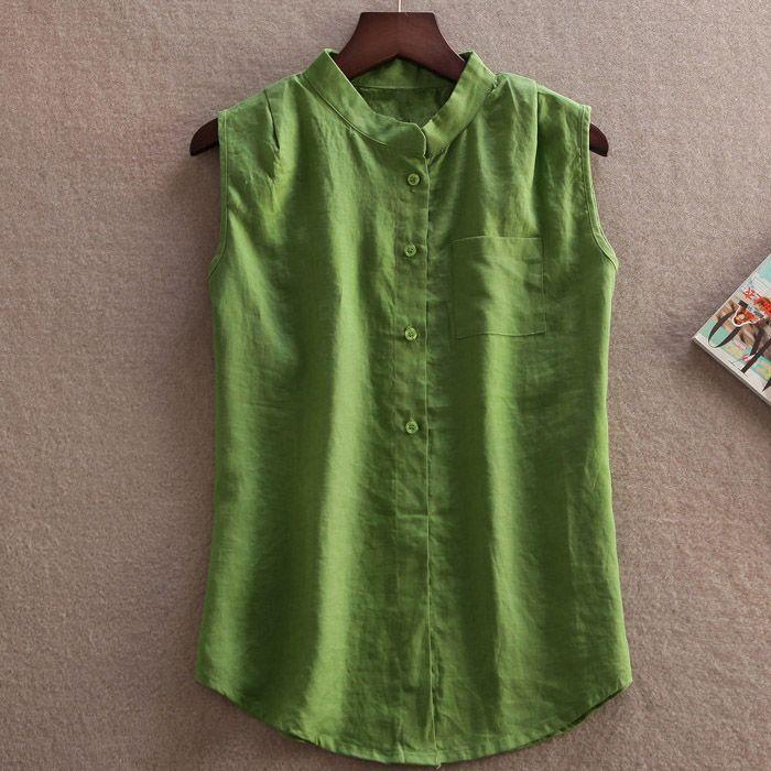 Camisetas e Tops Mujer Blusa De linho verão mulheres sem mangas Blusa De  Renda Feminina em Blusas de Roupas e Acessórios no AliExpress.com  41dd4468101d4