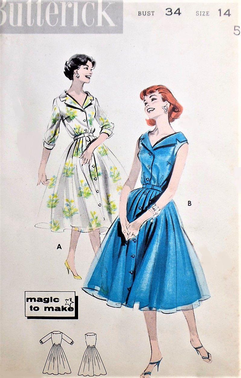 1950s FLIRTY Portrait Neckline Dress Pattern BUTTERICK 8604 Day or ...