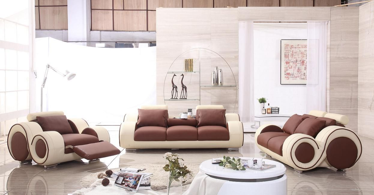 Tosh Modern Franco Bonded Leather Sofa Set Brown U0026 Beige Amazing Ideas