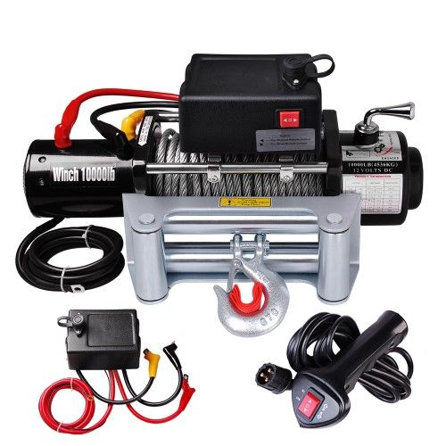 10000 Lb 12v 5 5hp Electric Recovery Winch Bonus Remote Truck