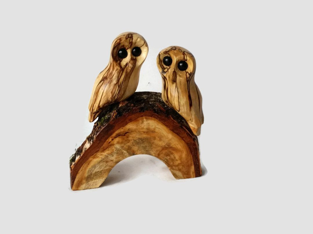 Anniversary gift for him hand carved owl pair wood