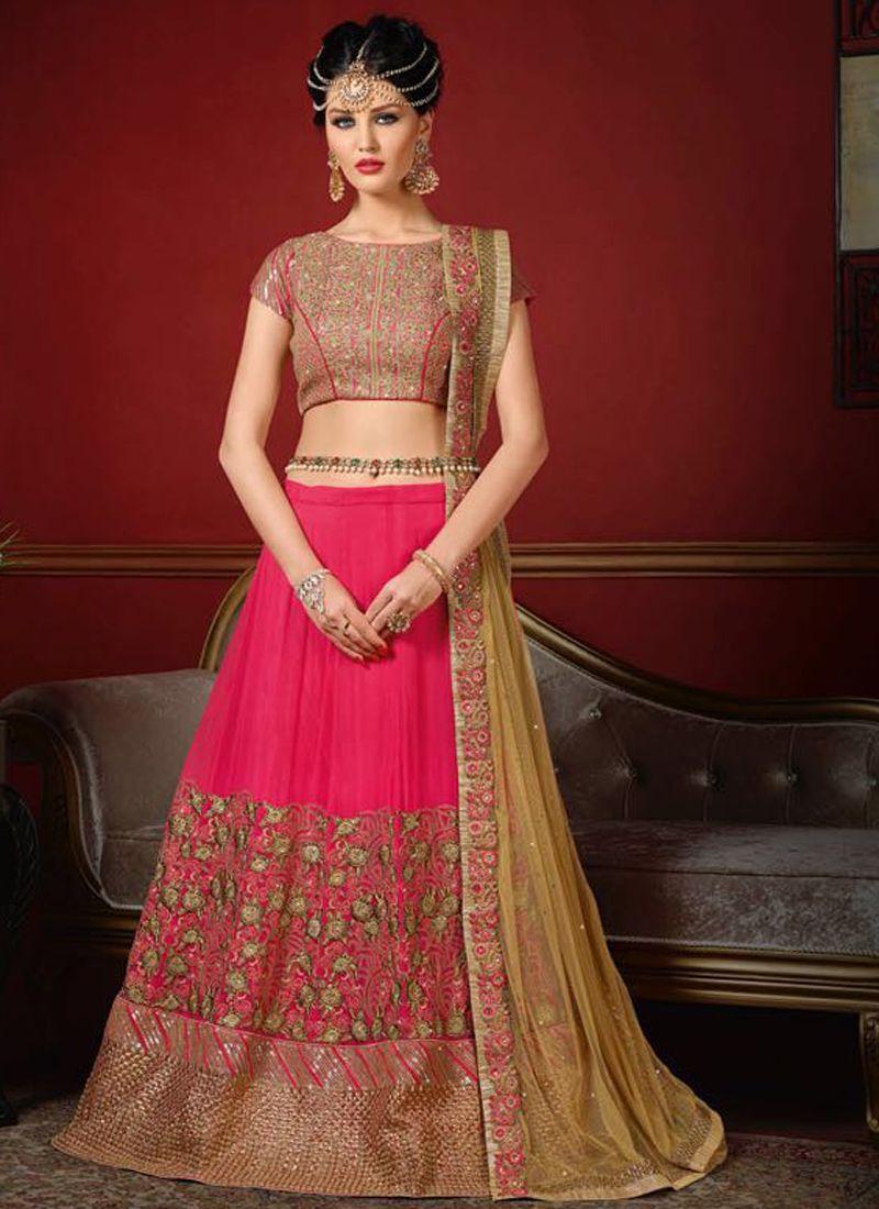 b68dd8199c Buy wedding wear pink silk heavy embroidery work lehenga choli in UK, USA  and Canada through online shopping from kollybollyethnics.com
