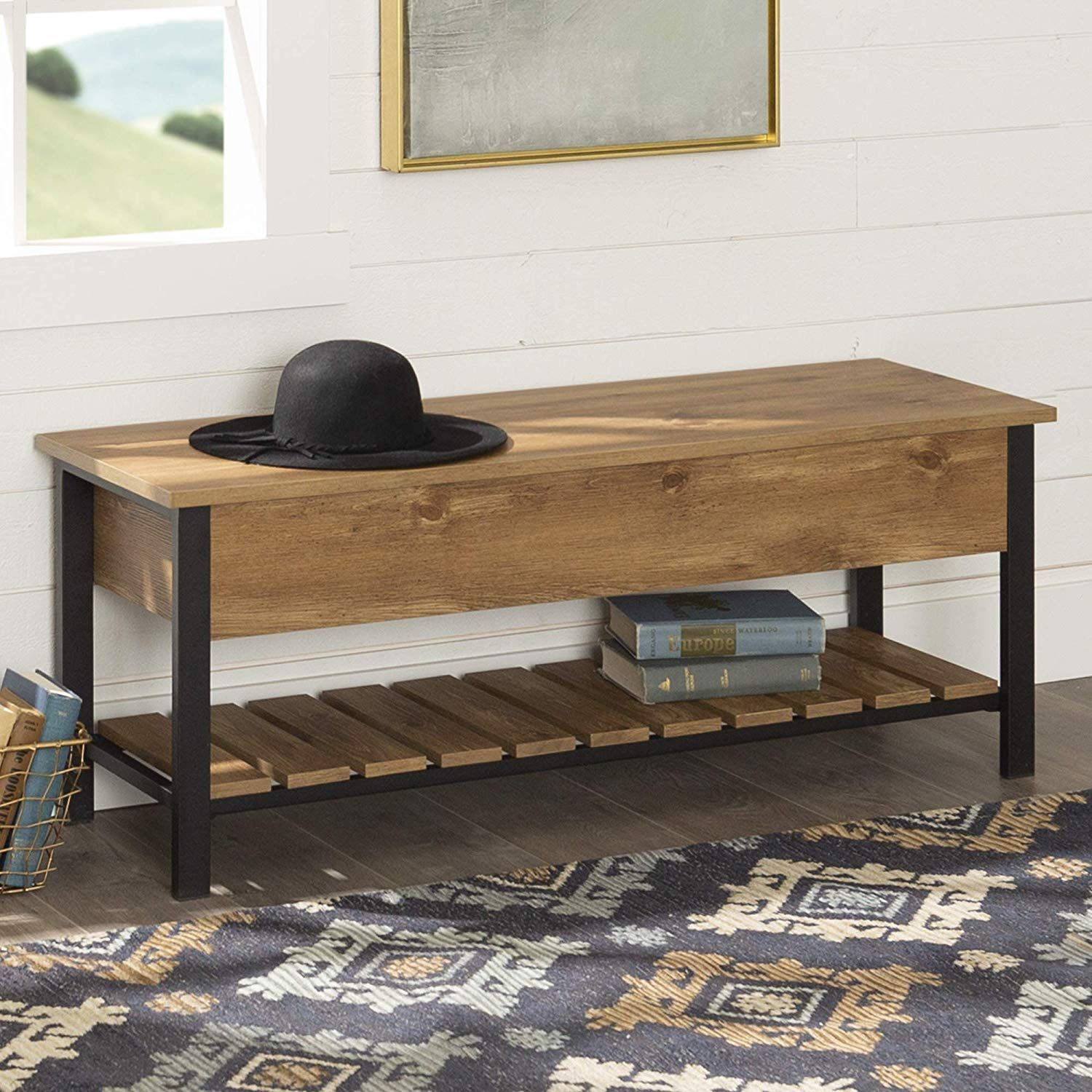WE Furniture OpenTop Storage Bench, Barnwood