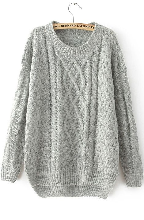 Grey Long Sleeve Cable Knit Loose Sweater by: SheInside @SheInside ...