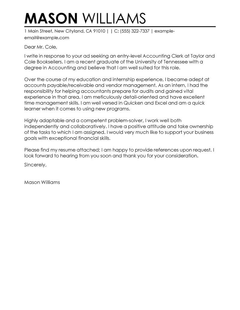 Sample Cover Letter For The Post Of Accountant Http
