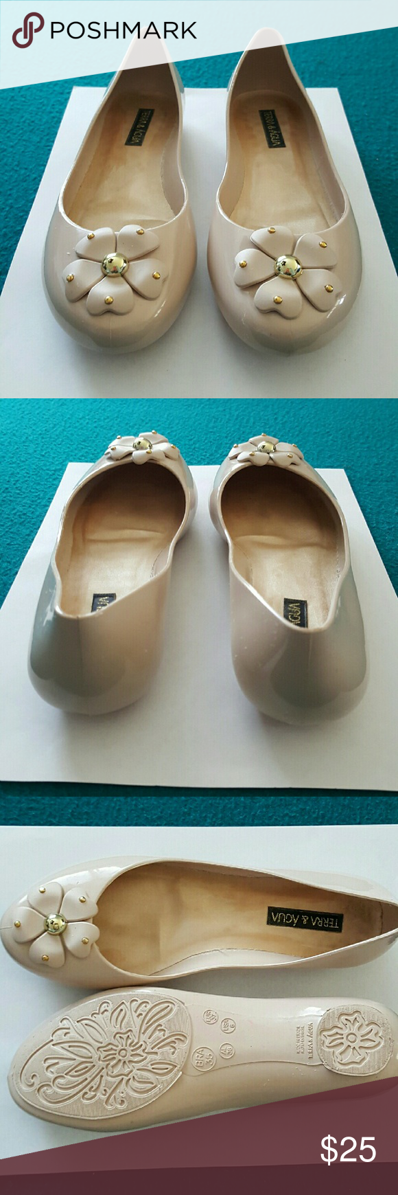 Terra and Agua Nudr Jelly Flats Worn once. Size 6. Great condition! Shoes Flats & Loafers