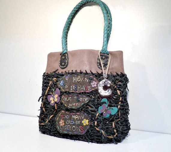 black leather tote knitted leather handbag italian di Glad2Balive, €76.00