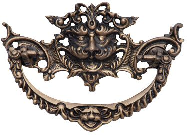 4 1/8 Inch Solid Brass Gargoyle Bail Pull (Antique Brass Finish)