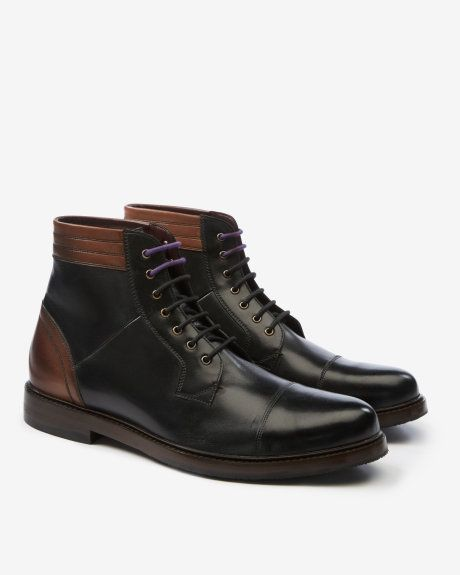 Leather derby boots - Black | Shoes | Ted Baker
