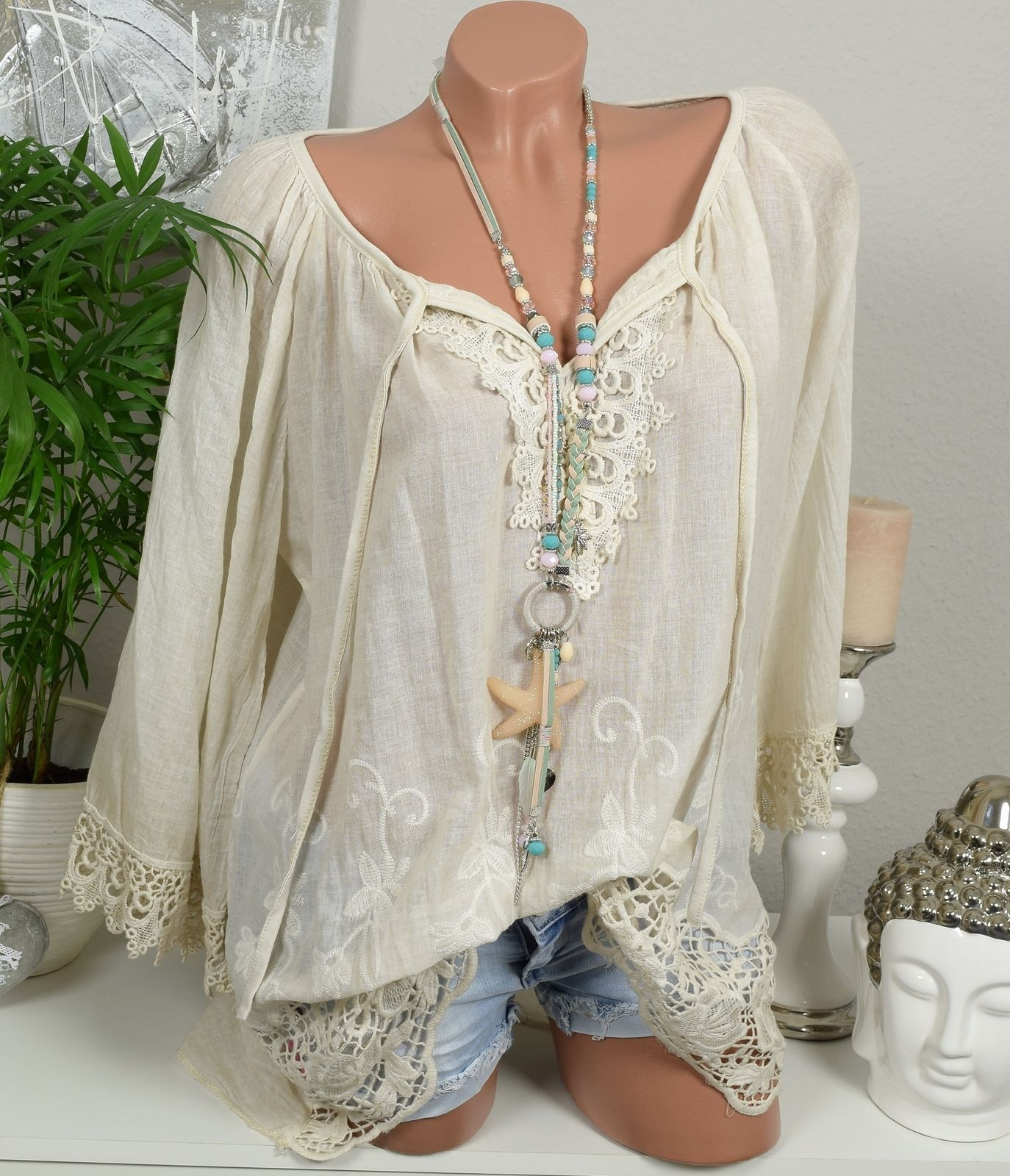 Details zu sale tunika vintage shirt stickerei h kel - Hippie bluse damen ...