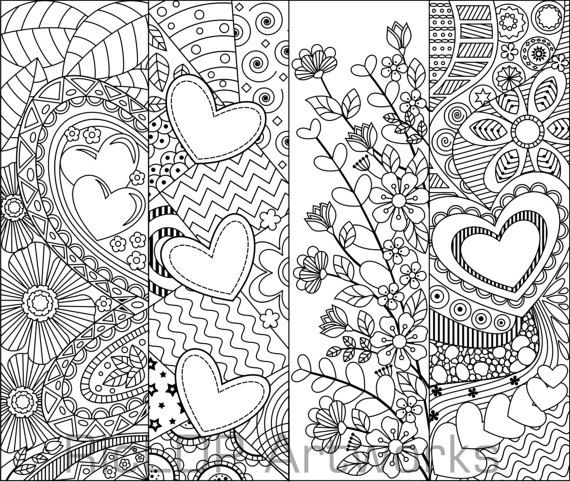 8 Printable Coloring Bookmarks with Hearts; Coloring Digital Doodles ...
