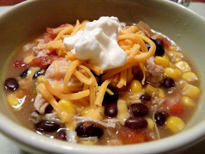 Six can Tortilla Soup. Family loved this soup. I served slightly crushed Doritos over the top. Have made many times.