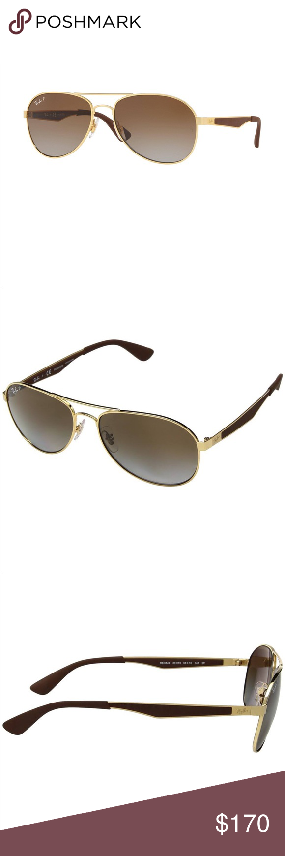 6c180cf2fb7 Ray Ban Polarized RB3549 001 T5 5 Ray Ban Polarized Brown Gradient Aviator  Unisex Sunglasses