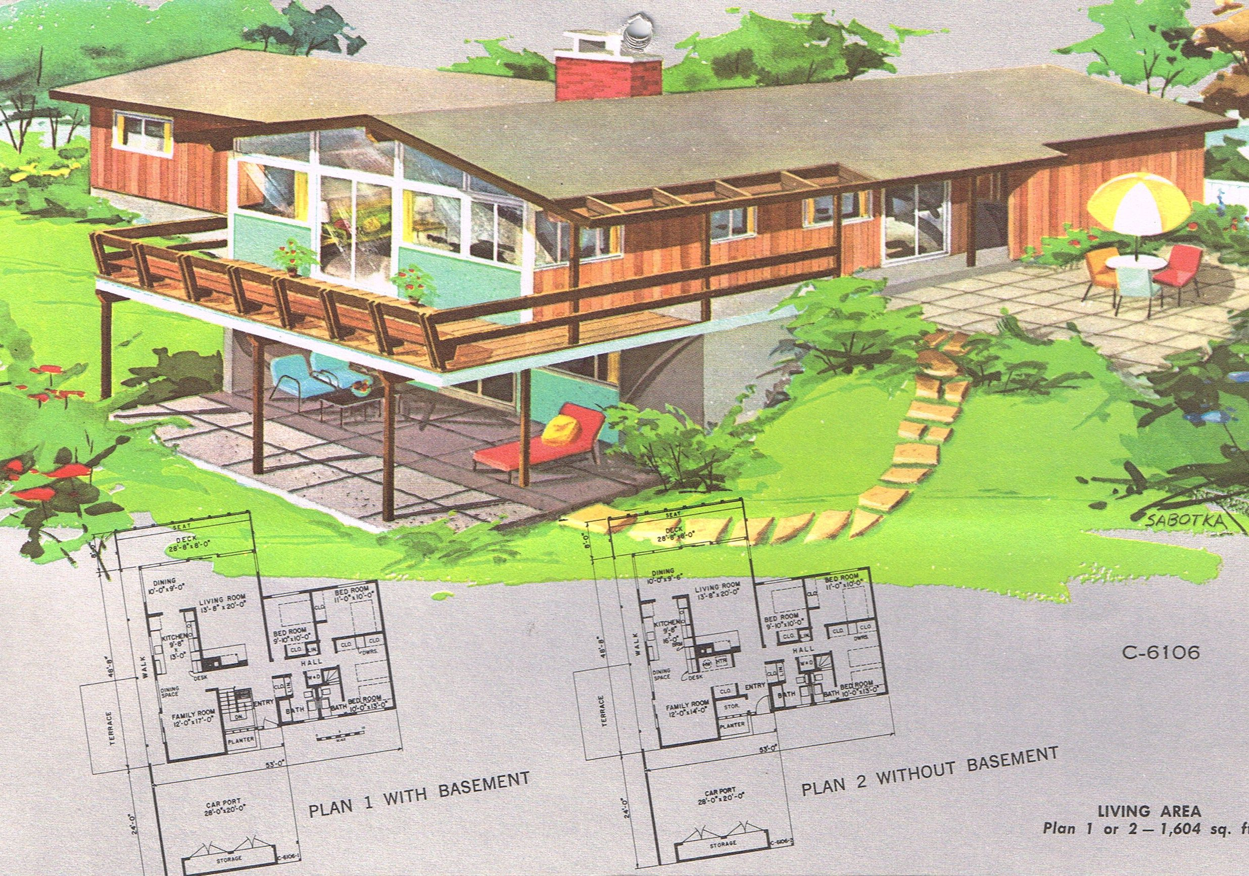 Mid century modern ranch house plans 1961 national house for Mid century ranch house plans