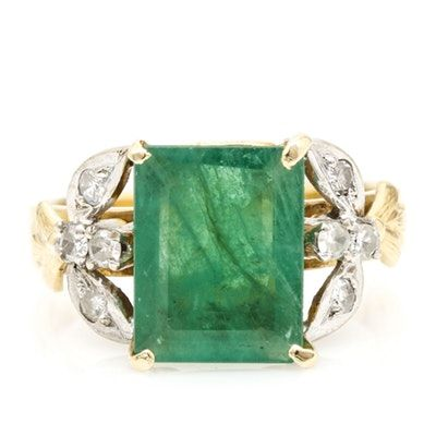 14K Two Tone Gold 2 23 CT Emerald and Diamond Ring