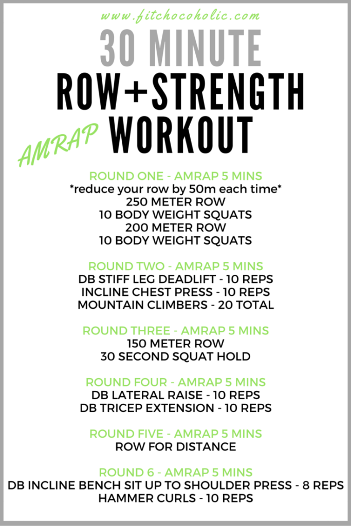30 minute row strength workout crossfit hiit pinterest30 minute row strength workout