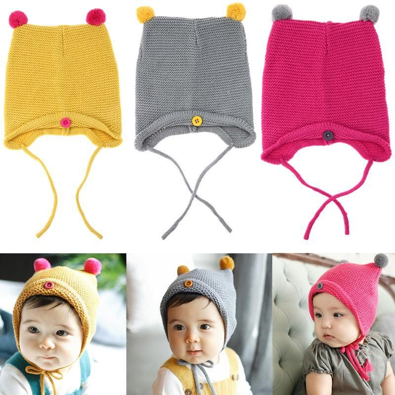 df61c89a1de 2017 Winter Baby Hat Knit Crochet Cap Hats For Girls Children Cotton Warm  Baby Cap Warm Autumn Winter Kid Beanie Unisex