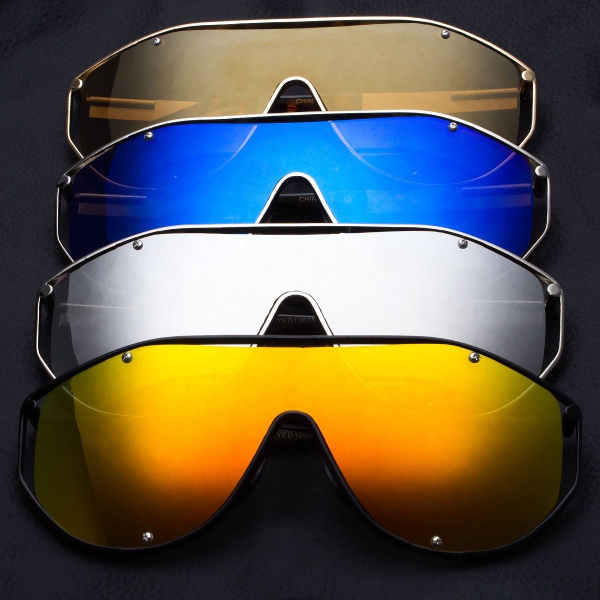 Large Oversized Shield Women Sunglasses Huge Xxl Frame Pilot Futuristic Lens Z