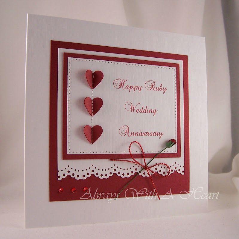 Ruby Wedding Anniversary Card Wedding Anniversary Cards Anniversary Cards Wedding Cards Handmade