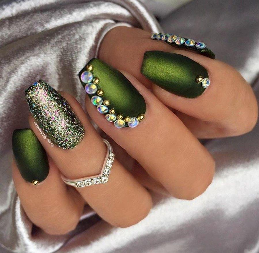 # Green W/ Glitter & Bling Nail Art   BEAUTY // NAILS ...