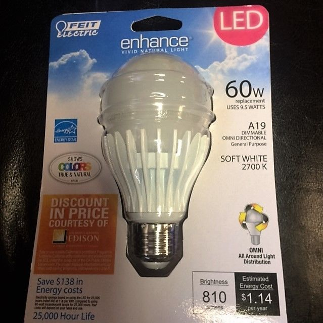 Feit Enhance Led Dimmable A 19 810 Lumens 60w Replacement With 9 5w Saves Led Enhancement Replacement