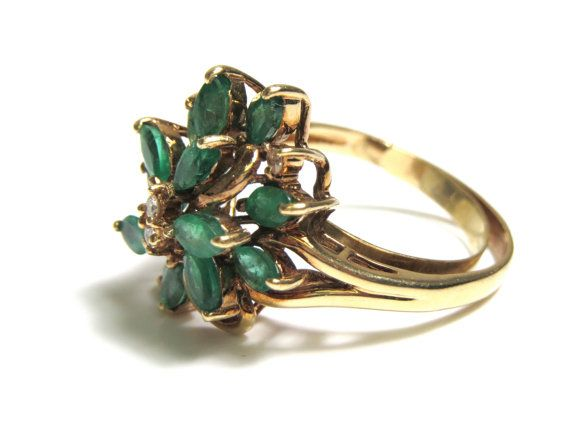 14k Natural Emeralds and Diamonds Yellow Gold by WatchandWares