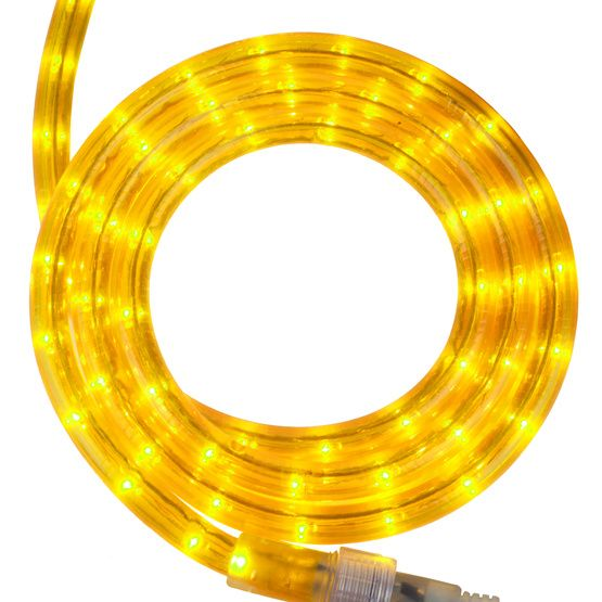 """12 Volt Rope Lights 12' Yellow Rope Light 2 Wire 12"""" 120 Volt  Rope Lighting"""