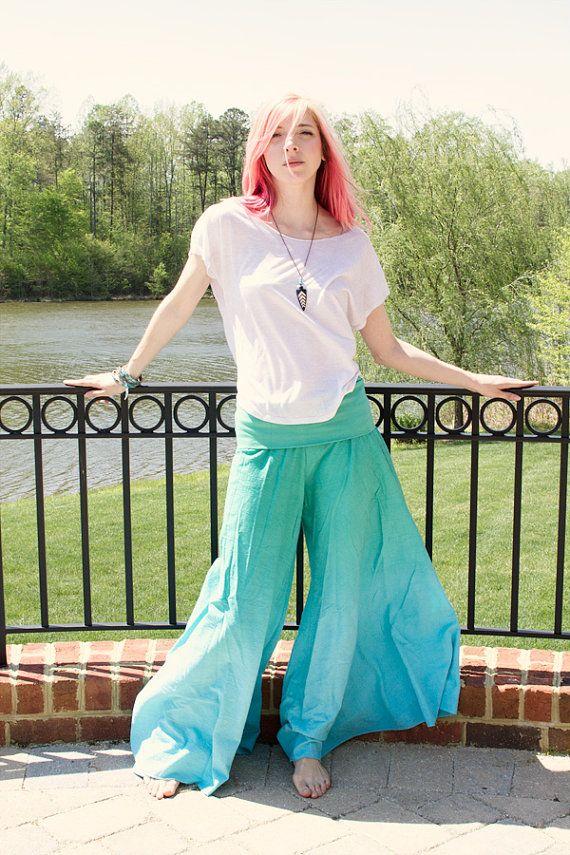 6b9ab2a875328 Aqua Wide Leg Pants, Gift for mom, Yoga Retreat Clothing, Prenatal Yoga  Clothes, BurningMan Costume