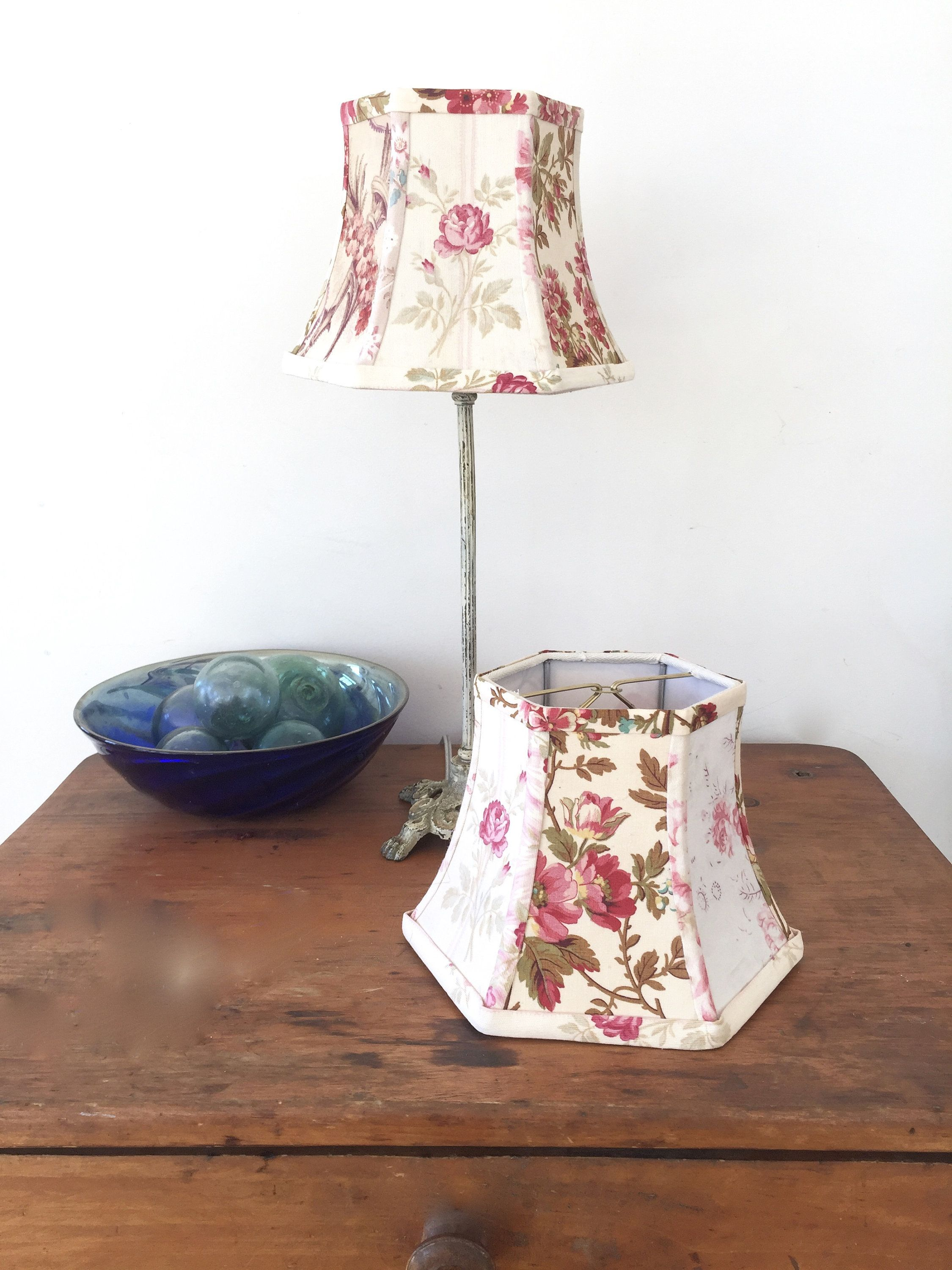 French Fabric Lamp Shade Floral Lampshade 5x8x6 Hex Bell Clip Top Cottage Style Handmade Vintage Fabrics Shab In 2020 Floral Lampshade Lamp Shade French Fabric
