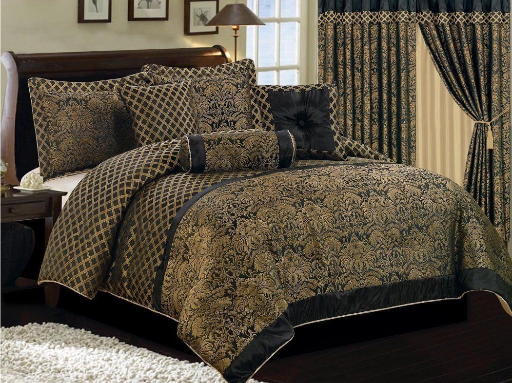 Lisbon 7 Piece Comforter Set Luxury Black Gold Jacquard Floral