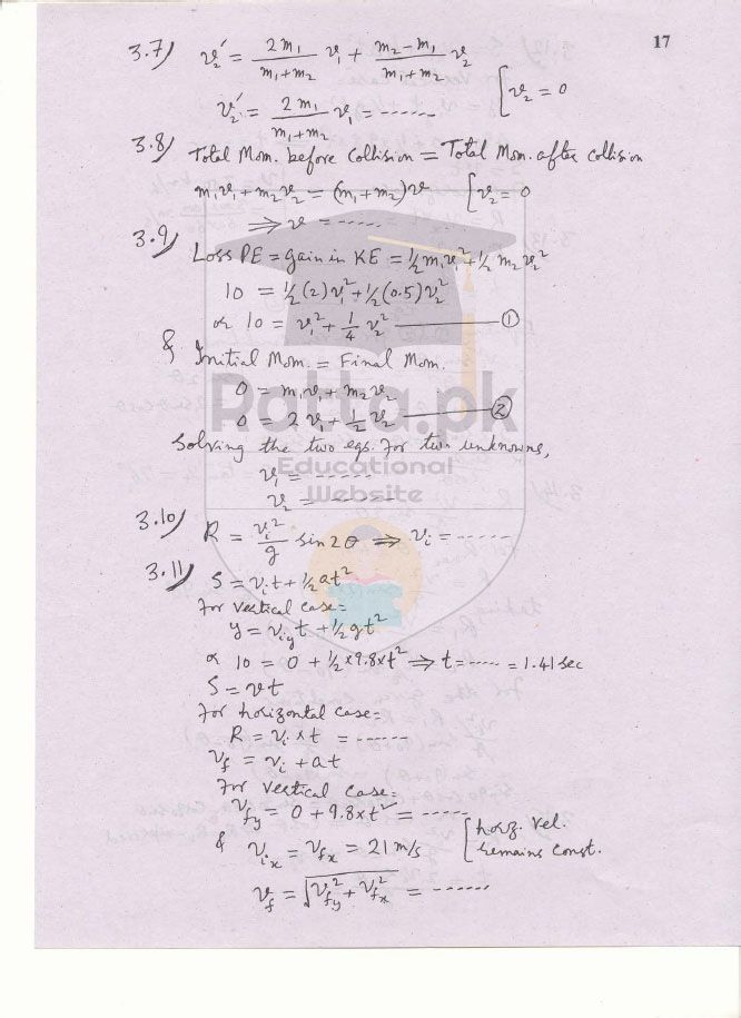 1st Year Physics Solved Numericals Chapter 3 Motion and Force - 11th