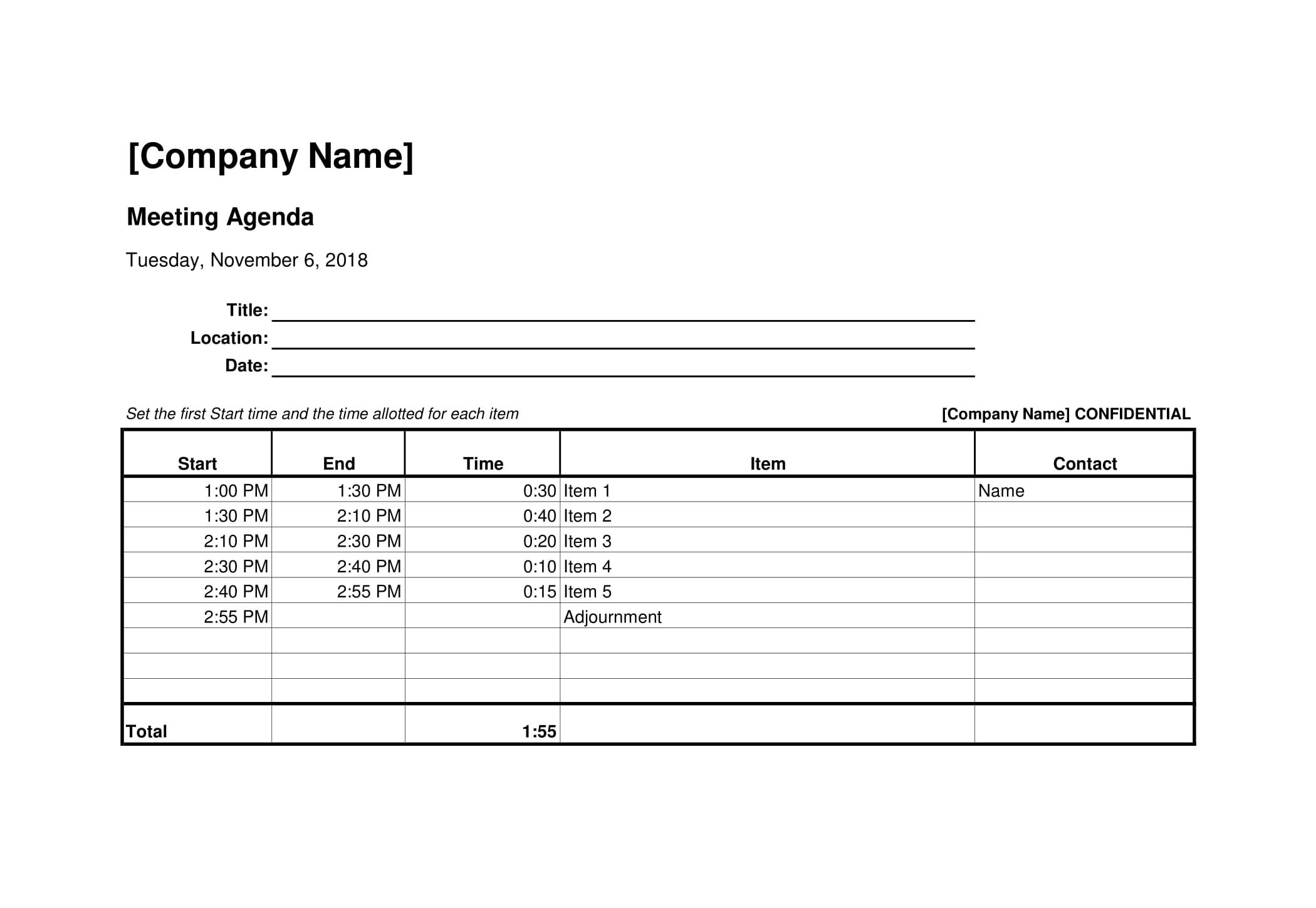Free Download Meeting Agenda Template In Excel Doc Pdf And