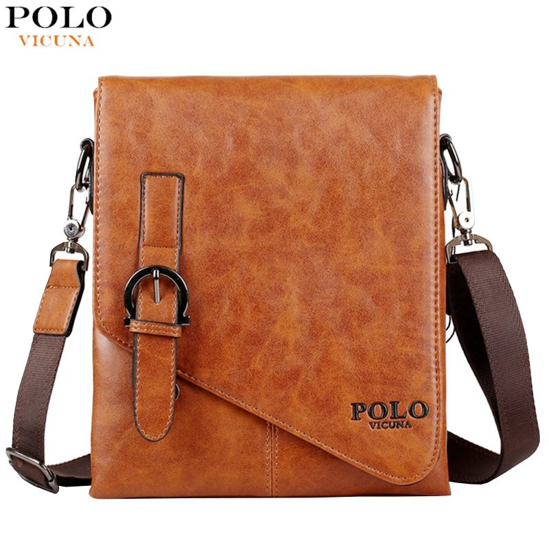 0f7e21951b37 VICUNA POLO Unique Buckle Design Irregular Cover Open Mens Messenger Bag 2  Sizes…