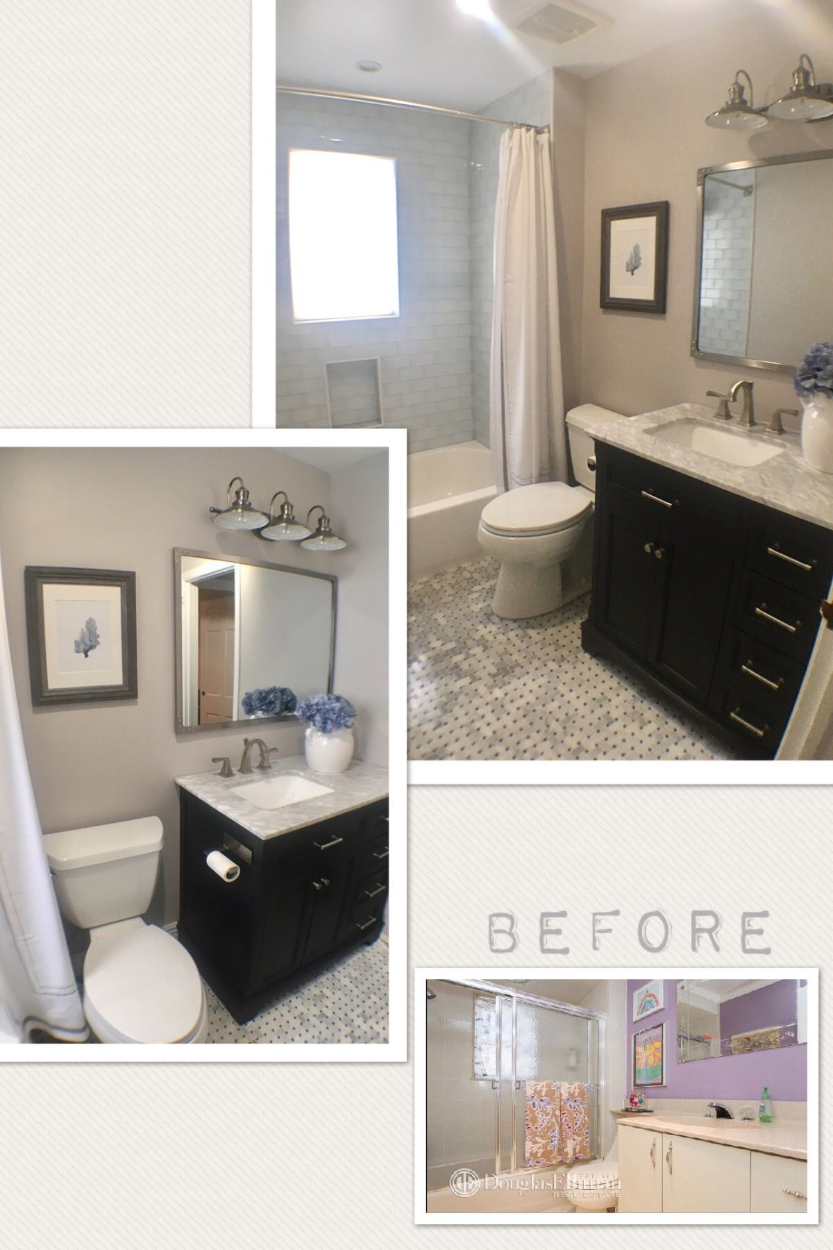 Bathroom makeover wall color is benjamin moore wish from lowes basketweave tile on