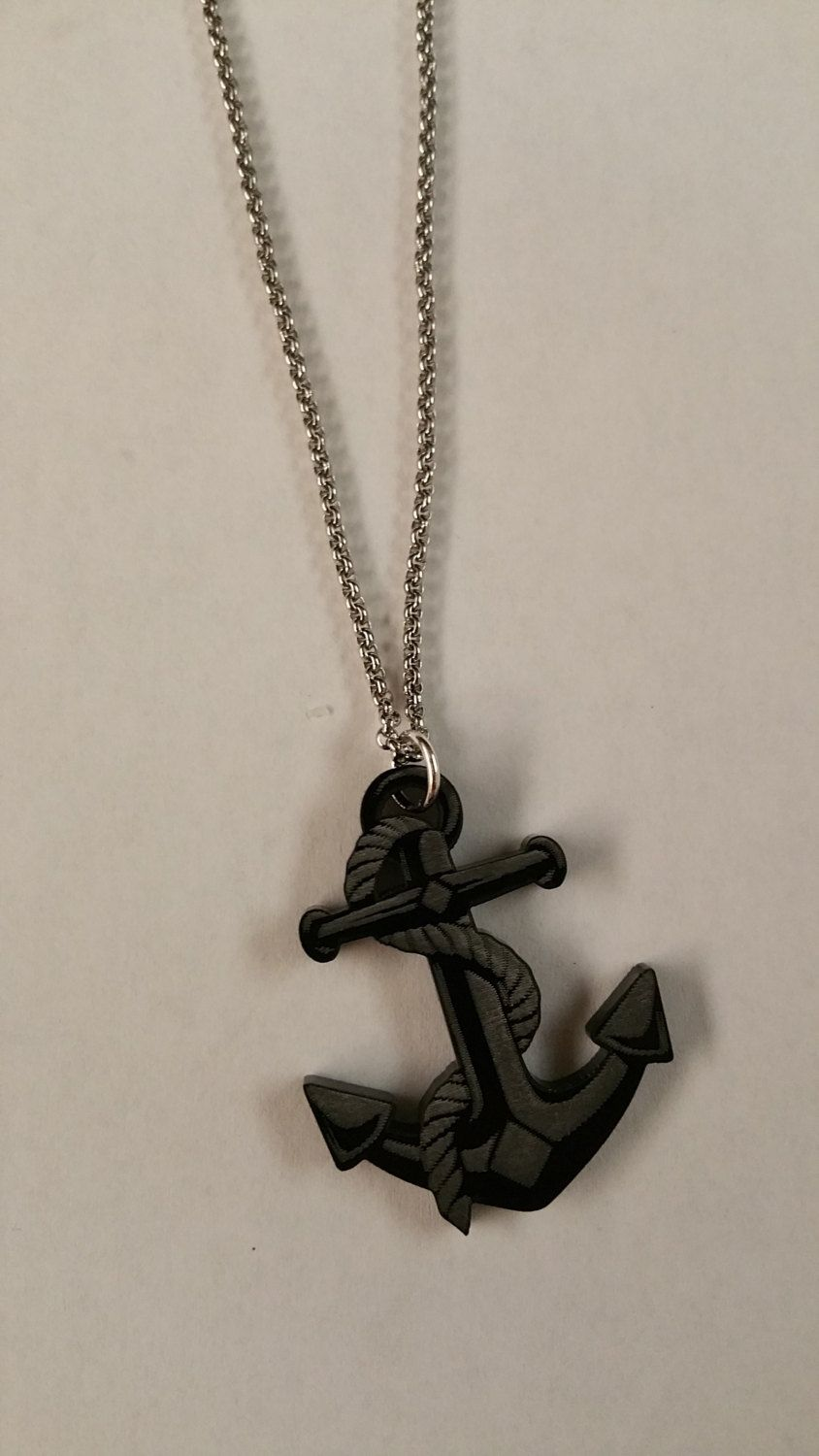 Custom Laser Cut  / Etched Acrylic Anchor Shaped Pendant & Stainless Steel Necklace Made In USA by 979Laser on Etsy