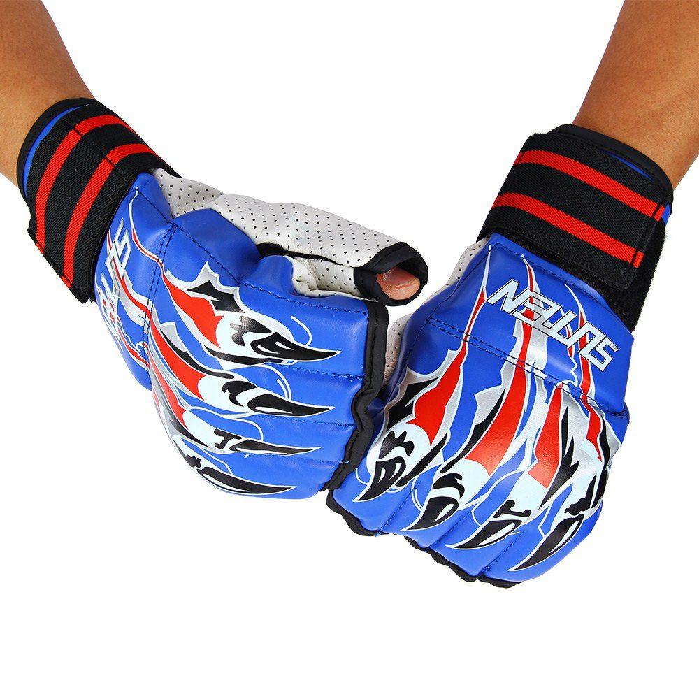 Nieuwe SUTEN 1 Paar Half Vinger Fight Bokshandschoenen Mitts Sanda Karate Zandzak TKD Protector Voor Doos Boksen Training met afbeelding