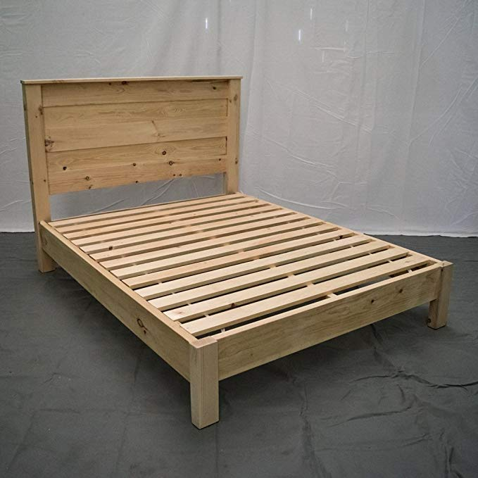 Unfinished Farmhouse Platform Bed w Headboard