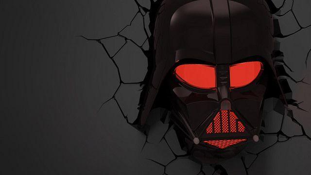 Dark Vador Casque Lampe Murale Star Wars Relief 3d Led 636 X 360