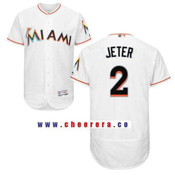 official photos 611d3 c0b7e Men's Miami Marlins #2 Derek Jeter White Home Stitched MLB ...