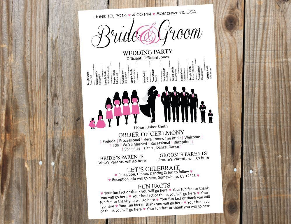 Silhouette Wedding Program Printable By Simpleandstunning2 On Etsy